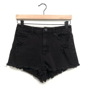 BDG Black High Waisted Cheeky Shorts - Size 28W